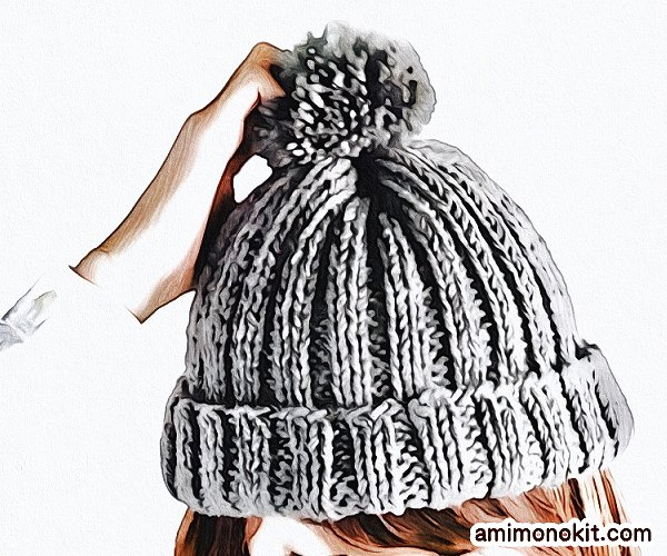 無料編み図Free Knitting Patternニット帽棒針編みシンプル簡単初心者1