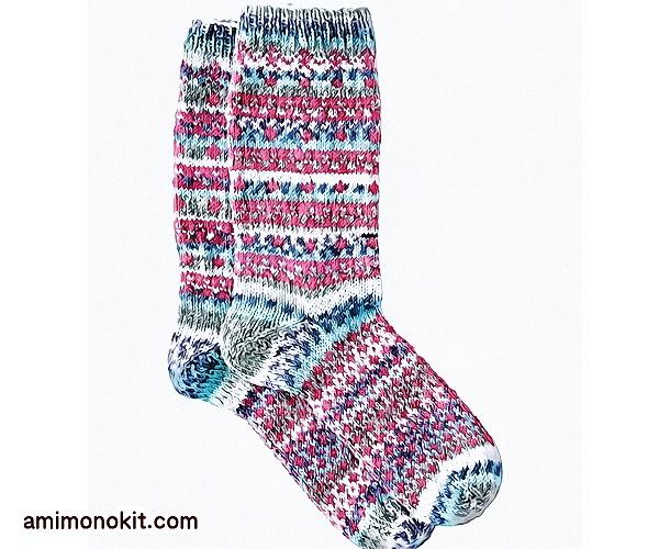 無料編み図Free Knitting Patternソックス棒針編み編み込み模様靴下北欧風可愛い手編み5