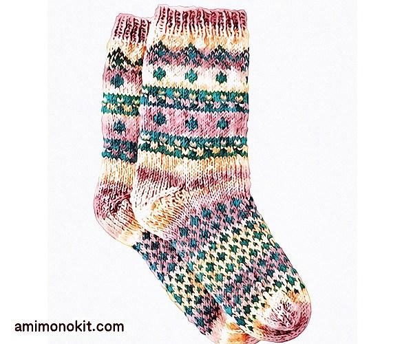 無料編み図Free Knitting Patternソックス棒針編み編み込み模様靴下北欧風可愛い手編み6