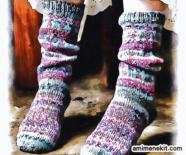 無料編み図Free Knitting Patternソックス棒針編み編み込み模様靴下北欧風可愛い手編み2