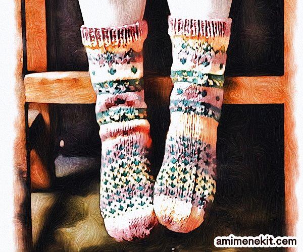 無料編み図Free Knitting Patternソックス棒針編み編み込み模様靴下北欧風可愛い手編み3