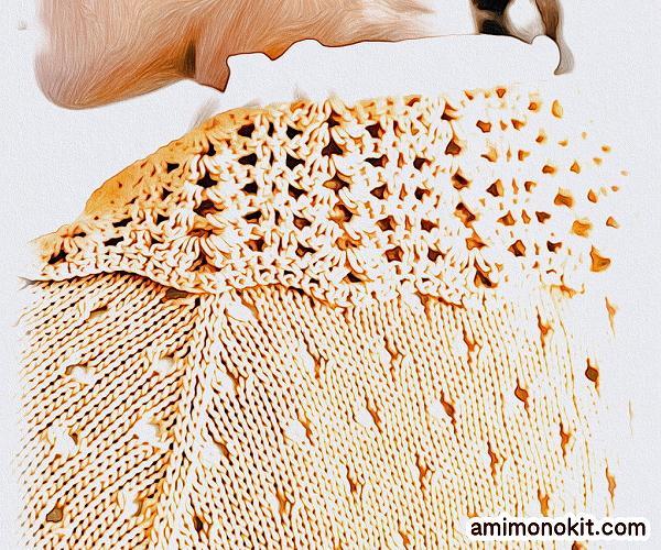 無料編み図Free Knitting Patternボレロ棒針カーディガン清楚ガーリー可愛い手編み4