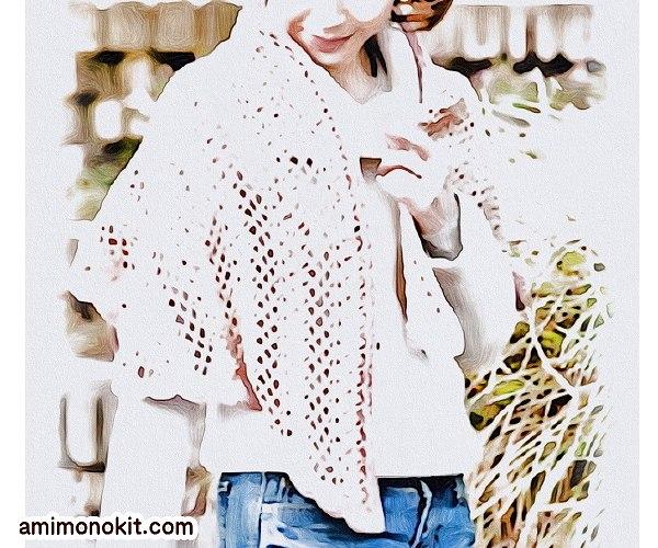 もらえる無料編み図ショールあみもねっとプレミアムウールかぎ針編みのショール
