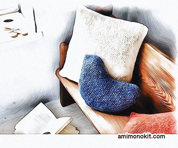 無料編み図Free Knitting Patternクッション棒針編み鹿の子模様北欧1