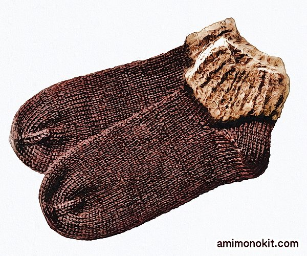 無料編み図Free Knitting Patternスイッチソックス棒針編み口下あったかグッズ北欧3