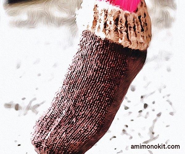 無料編み図Free Knitting Patternスイッチソックス棒針編み口下あったかグッズ北欧4