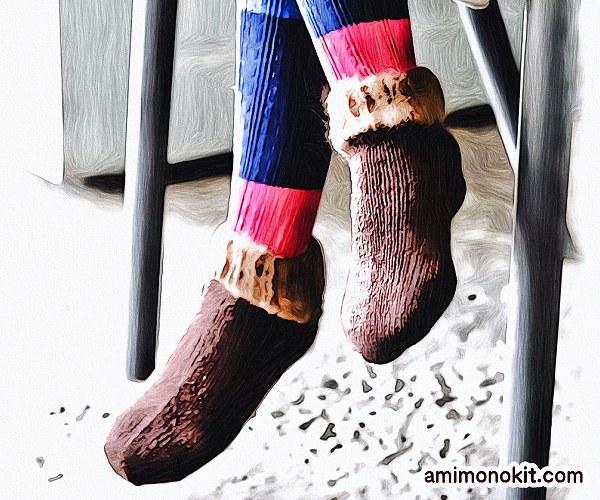 無料編み図Free Knitting Patternスイッチソックス棒針編み口下あったかグッズ北欧2