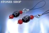 至純高級天珠宝瓶天珠 赤メノウカット ストラップNo1
