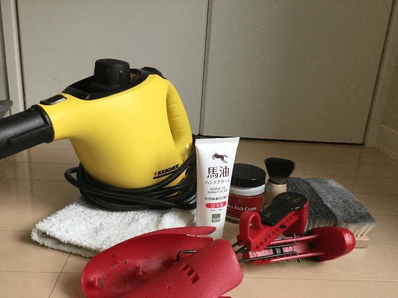 スチームによる革靴の丸洗いに使った道具