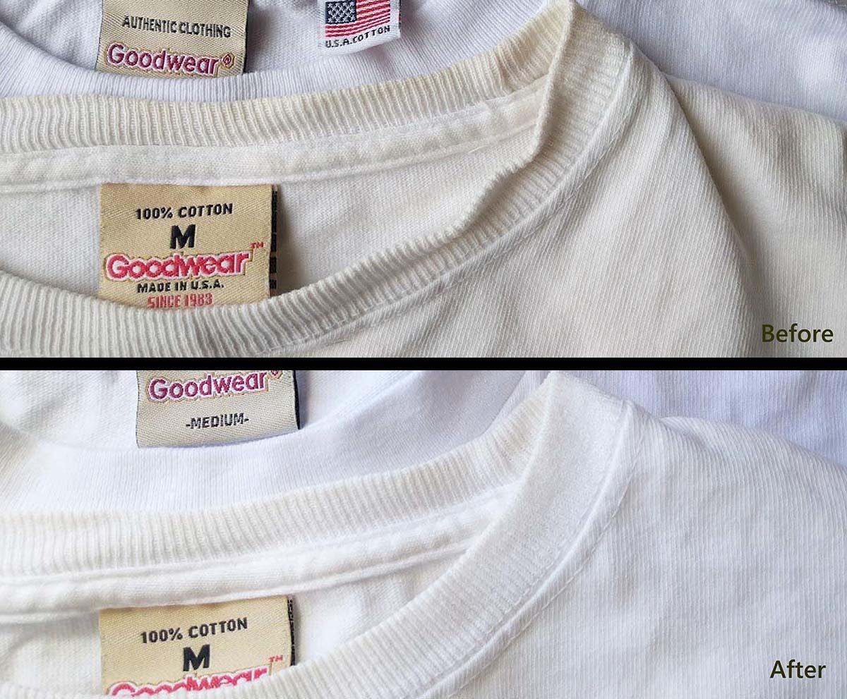 【10分で出来る】白いTシャツの黄ばみを「熱湯」と「食器用洗剤」で落とす|家にあるものだけでできる方法