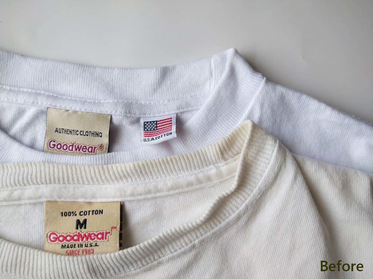 ビフォー②_白いTシャツの黄ばみを熱湯と食器用洗剤で白くする