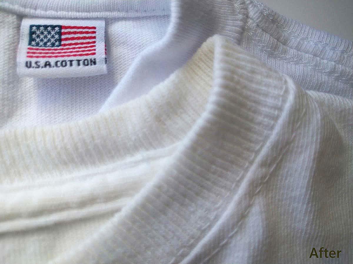 アフター_白いTシャツの黄ばみを熱湯と食器用洗剤で白くする