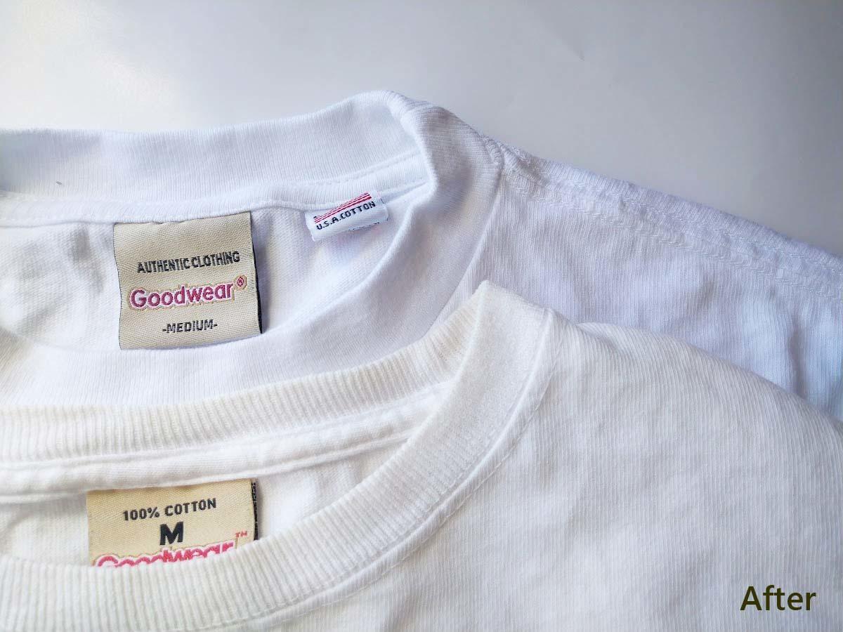 アフター②_白いTシャツの黄ばみを熱湯と食器用洗剤で白くする