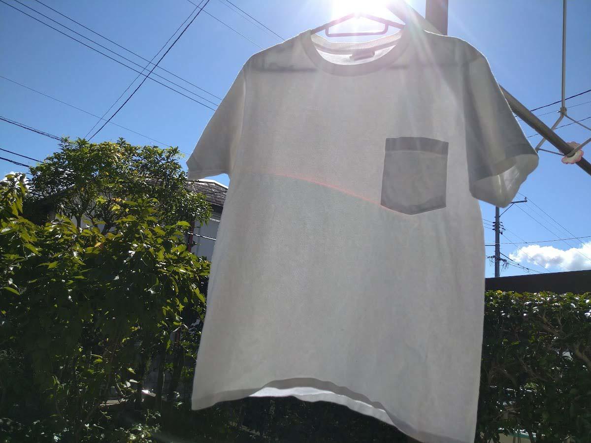 手順5_干す_白いTシャツの黄ばみを熱湯と食器用洗剤で白くする