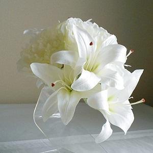 結婚式髪飾り・カサブランカと大輪芍薬とローズでゴージャス