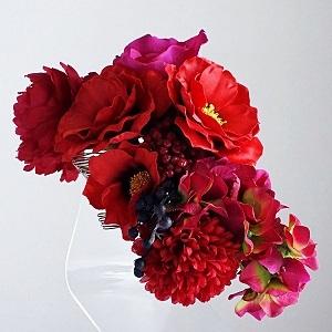 和装髪飾り・赤い椿と赤い芍薬とパープルローズ