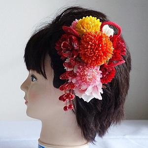 七五三髪飾り・つまみ細工と五色のピンポンマムで初々しく