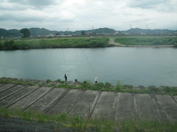 岐関大橋下流の釣り師