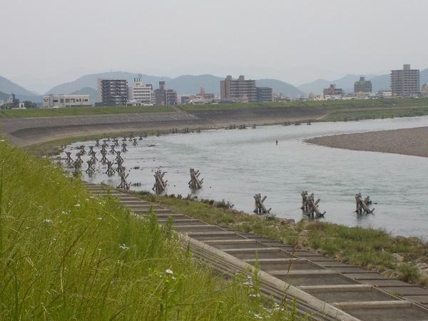橋の上流の釣り師
