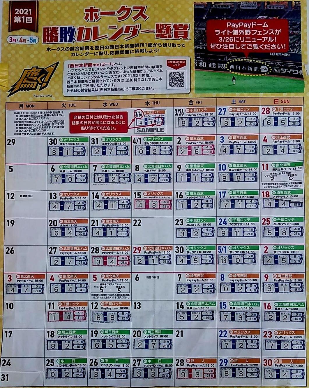 勝敗カレンダー2021