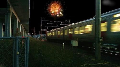 花火と電車