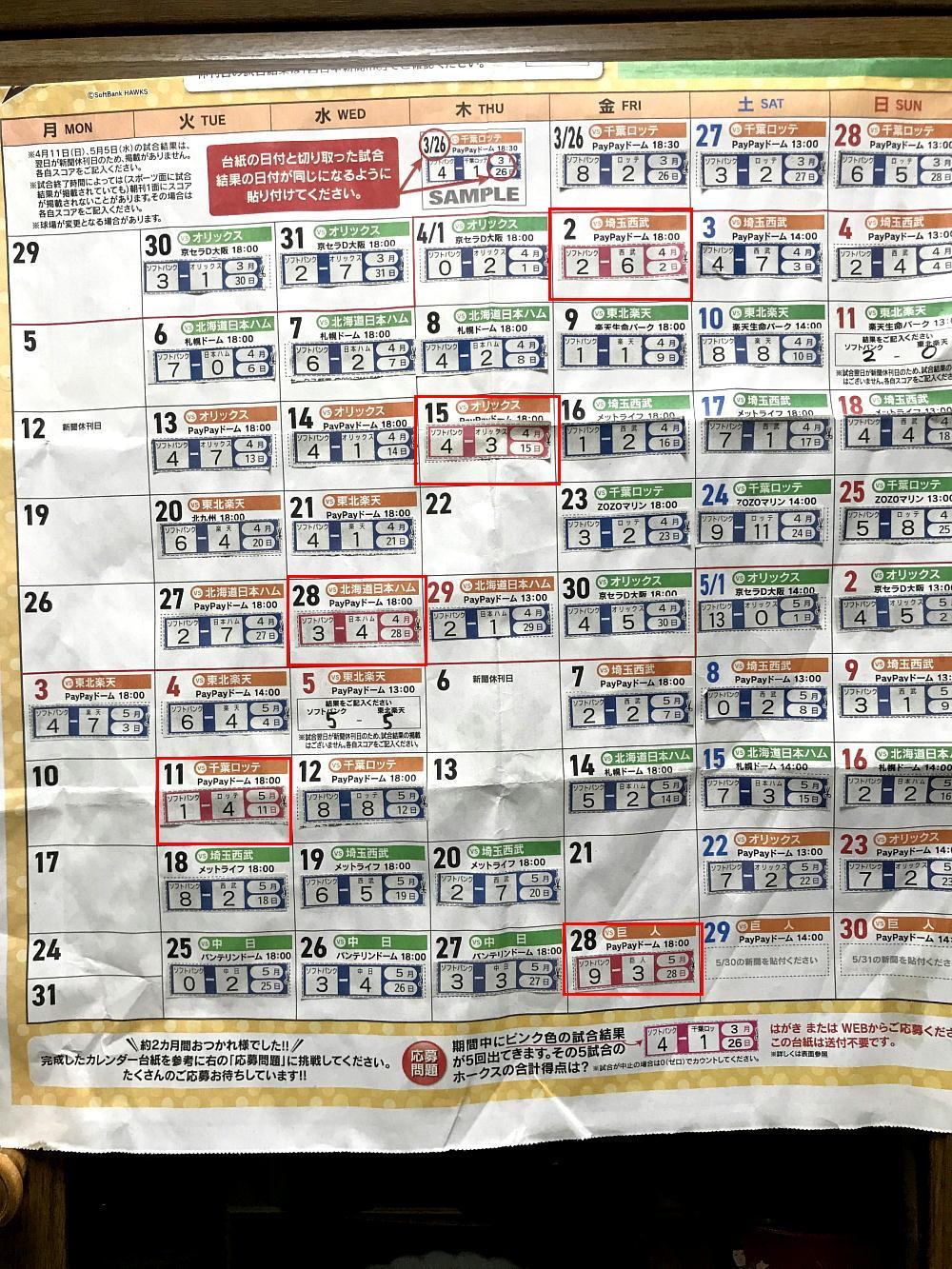 ホークス勝敗カレンダー