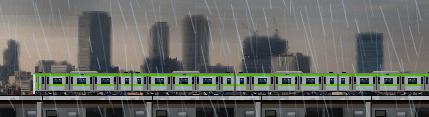 山手線の電車と雨のイラスト