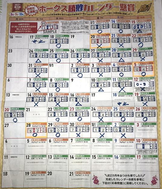 ホークス勝敗カレンダー2012 3回目