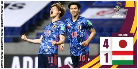 WORLD CUP QUALIFICATION ASIA Japan 4-1 Tajikistan Furuhashi