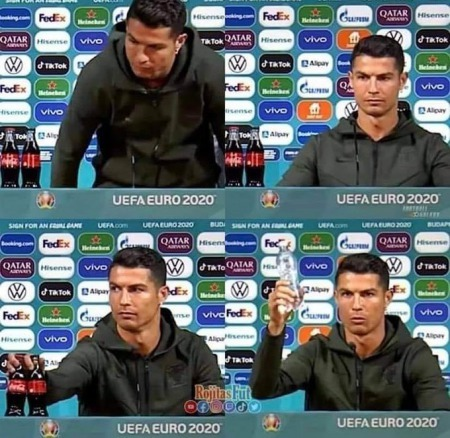 Cristiano Ronaldo angrily REMOVES Coca-Cola bottles in front of him at press conference