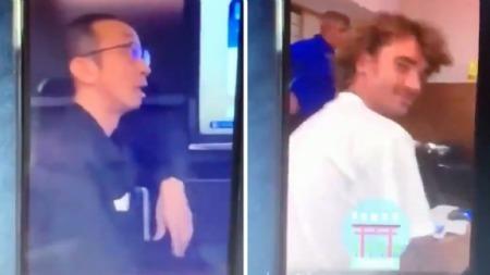 Antoine Griezmann and Ousmane Dembélé mocking asian technicians in their hotel room