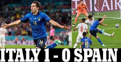 Italy vs Spain Federico Chiesa gives Azzurri the lead goal