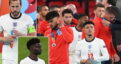 Fans slate petulant and disrespectful England players for removing their runners-up medals