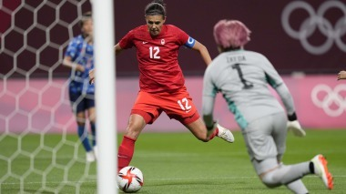 Christine Sinclair's objective provides Canada an early lead over Japan