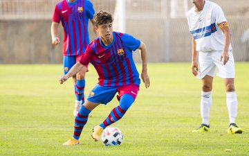 Hiroki Abe during todays LEscala-Barça B friendly