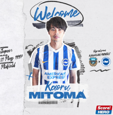 [Brighton Hove Albion] are pleased to confirm the signing of Japan international Kaoru Mitoma! 🇯🇵