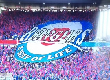 rangers fans for the tifo welcoming Ange and Kyog