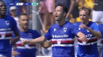 1-1 Sampdoria Yoshida equalizes vs Inter with a shot that took a deflection