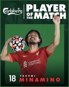 Minamino Player of the match Norwich 0 - [1] Liverpoo