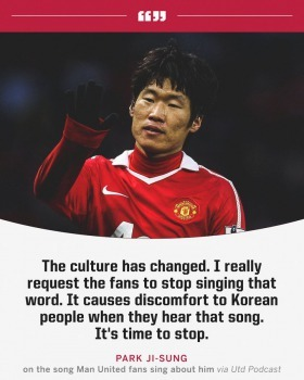 Park Ji-Sung has asked Man United fans to stop singing a song about him which contains a negative stereotype about South Korea