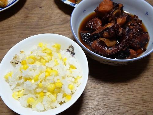 とうもろこしご飯 タコの柔か煮