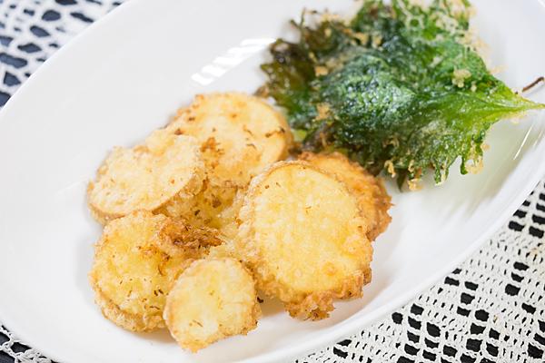 ジャガイモと大葉の天ぷら