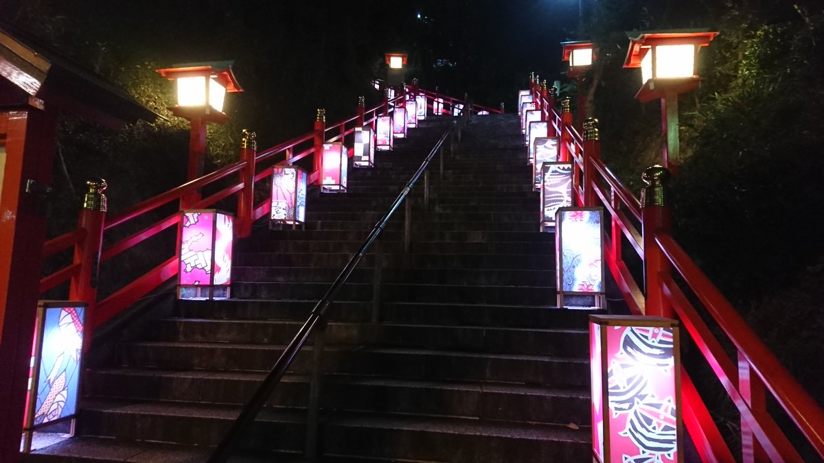 織姫神社 階段ライトアップ①