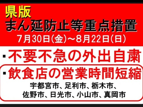 栃木県 新型コロナウイルス感染拡大防止 営業時間短縮協力金(第4弾)】飲食店④