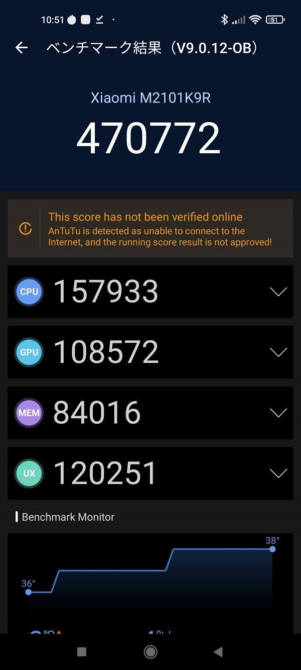 「Xiaomi Mi11 Lite 5G」トリュフブラック Antutu2回目